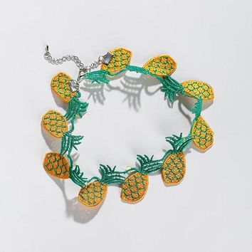 ac spbest 2017 Harajuku Style Fruit Choker Necklace Women Kolye Lovely Pineapple Banana Strawberry Shape Embroidery Cloth Necklaces