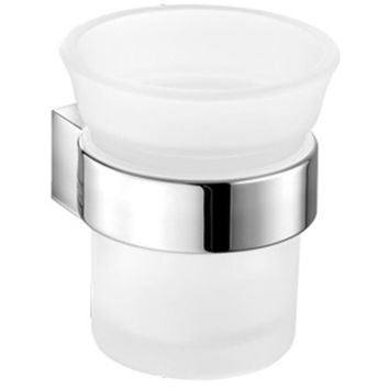 SCBA Alle Wall Frosted Glass Toothbrush Toothpaste Holder Bath Tumbler - Brass