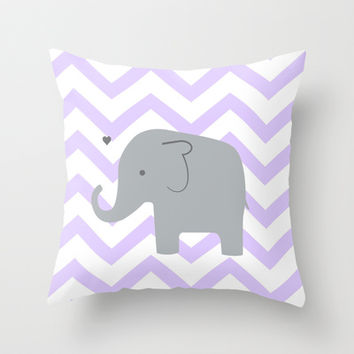 Baby Elephant Chevron Purple Throw Pillow by Janelle Krupa