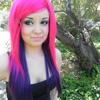 HAPPY HOLIDAYS SALE / Mystic Maiden / Hot Pink and Purple / Long Straight Layered Wig