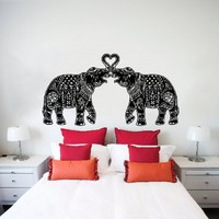 Wall Decals Indian Elephant Floral Patterns Mandala Tribal Love Ganesh Wall Vinyl Decal Stickers Bedroom Murals