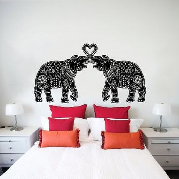 Wall Decals Indian Elephant Floral Patterns Mandala Tribal Love Ganesh Wall  Vinyl Deca