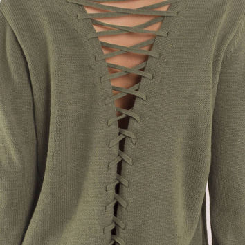 Shallow Waters Lace Up Sweater