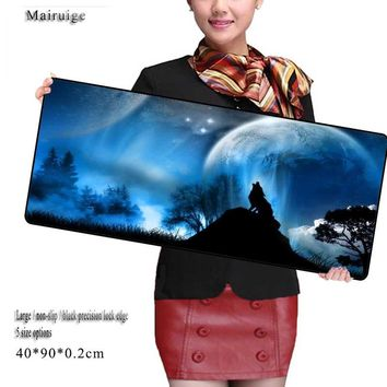 Mairuige Wolf Moon Big Gamer Mouse Pad 700X300mm Speed Gaming Mouse Pad Locking Edge Laptop Mats for Cs Go Dota Computer Players