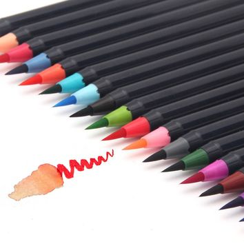 20 Colors/Set Watercolor Soft Premium Painting Brush Pen Copic Markers Pencil Calligraphy