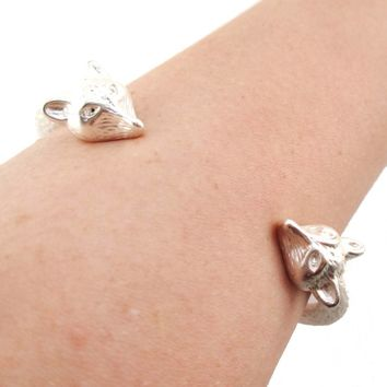 Double Fox Head Shaped Wrap Around Bangle Bracelet Cuff in Silver | Animal Jewelry