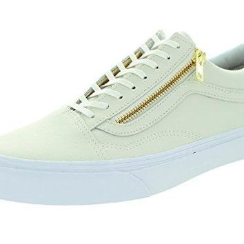 Vans Mens Old Skool Zip (Leather) True White/Gold Skate Shoe 8 Men US / 9.5 Women US