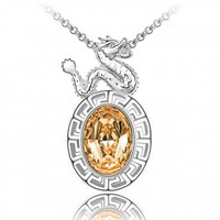 Year of Dragon Golden Swarovski Elements Crystal Chinese Zodiac Amulet Rhodium Plated Pendant Necklace
