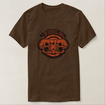 Halloween Two Skulls - Orange Black Worn 2 T-Shirt