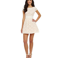 B. Darlin Cap-Sleeve Lace Party Dress - Cream/Pink