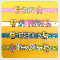 Spongebob and Patrick Star / Personalized Rhinestone Name Bracelet with 2 Charms  (up to 7 mix/silver/gold letters)