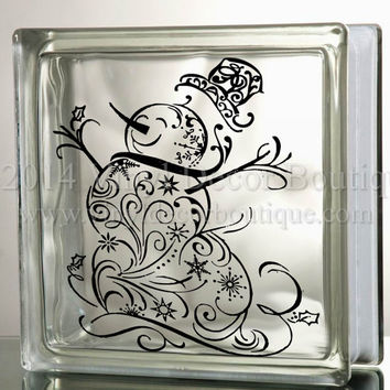 Snowman filigree glass block decal tile mirrors diy decal for christmas glass blocks christmas snowman filigree