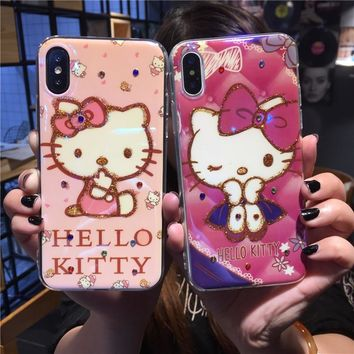 Luxury Cartoon Hello Kitty Strawberry Silicone Cover Diamond Pattern Phone Case For iPhone 6 6s 7 8 Plus X 10 Back Cover Capa