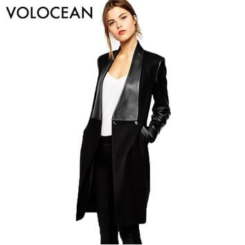 2017 The New Stitching Leather Coat Women Long  Slim Woolen Coats Female Black Fashion Coat Woman Jacket