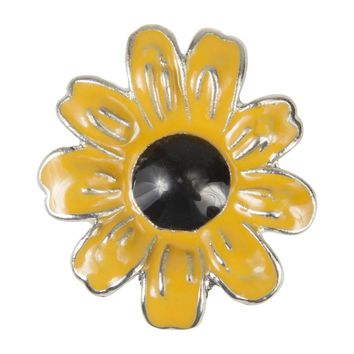 Enamel Dawg Tag Shoe Charm - Sunflower