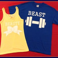 Free US Shipping Fast Processing Super CUTE Beauty AND Beast Couples Tanks/tshirts Perfect For any Loving Couple. Royal Blue and Soft Yellow