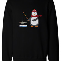 Cute Penguin is Ice Fishing Winter Sweatshirts X-mas Unisex Pullover Fleece