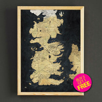 Game of Thrones Map Print Vintage World Map Art Print Poster Housewear Wall Art Decor Gift Linen Print - Buy 2 Get FREE - 409s2g