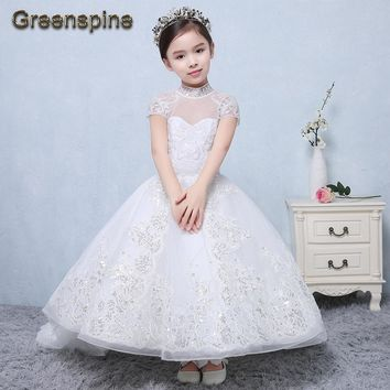 2017 Luxury Flower Girl Dresses For Wedding Floor Length Lace Up Pricness Gowns Lace beads Ivory White Wedding Gown GF020