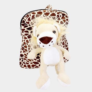 Fluffy Stuffed Lion Patterned Backpack
