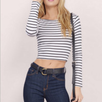 Stripe Casual Crop Top  B0014802
