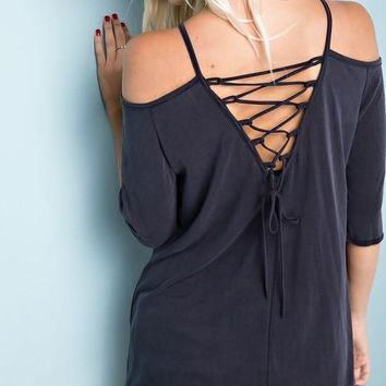 Cold Shoulder Criss Cross Top