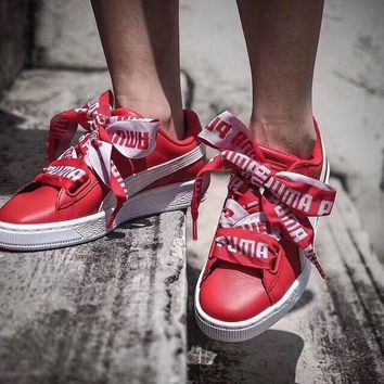 Puma Suede Basket Bow Women Running Sneakers Sport Shoes