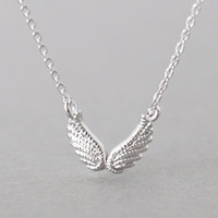 DOUBLE ANGEL WING NECKLACE STERLING SILVER WING NECKLACE ANGEL WING from Kellinsilver.com - Sterling Silver Jewelry Shop