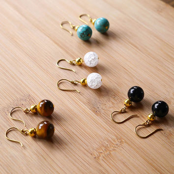 Gold Bead Hook On Earrings