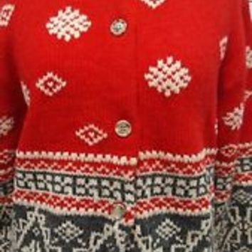 Women Eddie Bauer red wool alpaca blend Fair Isle sweater top size M Medium EUC