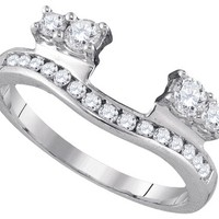 14kt White Gold Womens Round Diamond Ring Guard Wrap Solitaire Enhancer 1/2 Cttw