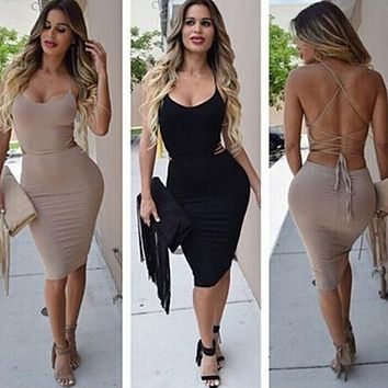 Women's Summer Sexy Strappy Backless Sleeveless Bodycon Cocktail Club Dress New Arrival