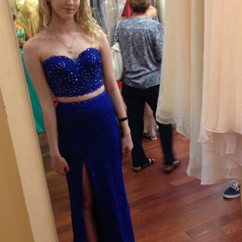 Royal Blue Sequins Two Pieces Prom Dresses Evening Dress