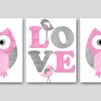 Kids Wall Art Owl Nursery Owl decor Baby Nursery Decor Baby Girl Nursery Kids Art Baby Room Decor Nursery Print set of 3 8x10 Rose Gray Pink