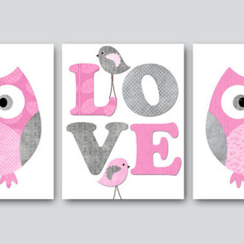 Kids Wall Art Owl Nursery Decor Baby