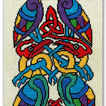 Celtic Birds completed cross stitch embroidery colorful and bright home decoration wall hanging