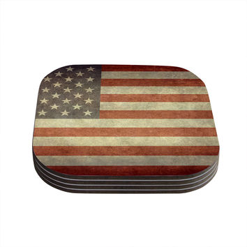 "Bruce Stanfield ""Flag of US Retro"" Rustic Coasters (Set of 4)"