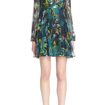 Versace Collection Print Georgette Silk Dress | Nordstrom
