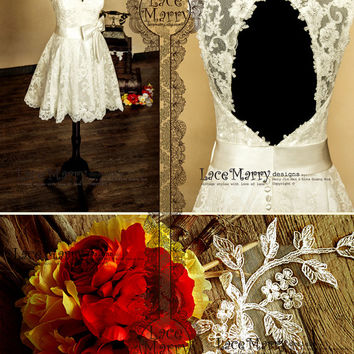 Knee Length Lace Wedding Dress Features V-Cut Neckline and Keyhole Open Back with Scalloped Edges  - Short Lace Wedding Dress