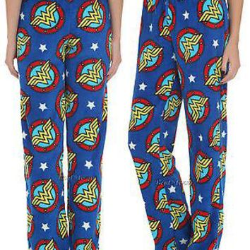 Licensed cool NEW DC  WONDER WOMAN LOGO SUPER SOFT PLUSH Fleece Lounge Pants Pajamas PJS