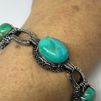 Vintage Victorian 925 Sterling Silver Filigree Persian Turquoise Statement Bracelet