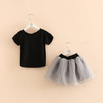 Girls Princess Black Tutu and Top 2 Piece Set