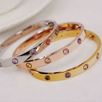 Love bracelet ten diamond color Diamond 18K Rose Gold Diamond Bracelet female eternal ring screwdriver