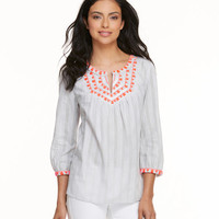 Shop Ikat Stripe Embroidered Tunic Top at vineyard vines