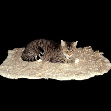 Mohair Cat Bed Felted Humane Wool Rug Pet Bed - Tan Angora Goat - Supporting US Small Farms