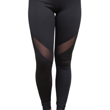Black Mesh Insert Yoga Sports Leggings