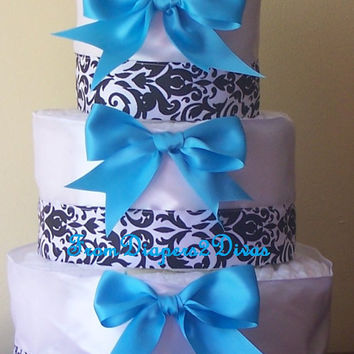 Damask and Blue Diaper Cake for boys Baby Shower Centerpiece Baby Gift