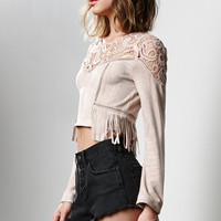 J.O.A. Crochet Yoke Faux Suede Cropped Top at PacSun.com
