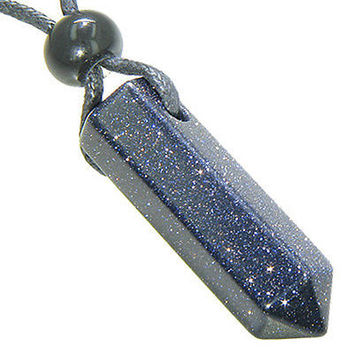 Lucky Crystal Point Pendant Necklace in Blue Gold Stone Gemstone