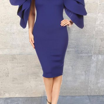 Blue Ruffle Mermaid Petal Sleeve Bodycon Banquet Elegant Party Midi Dress
